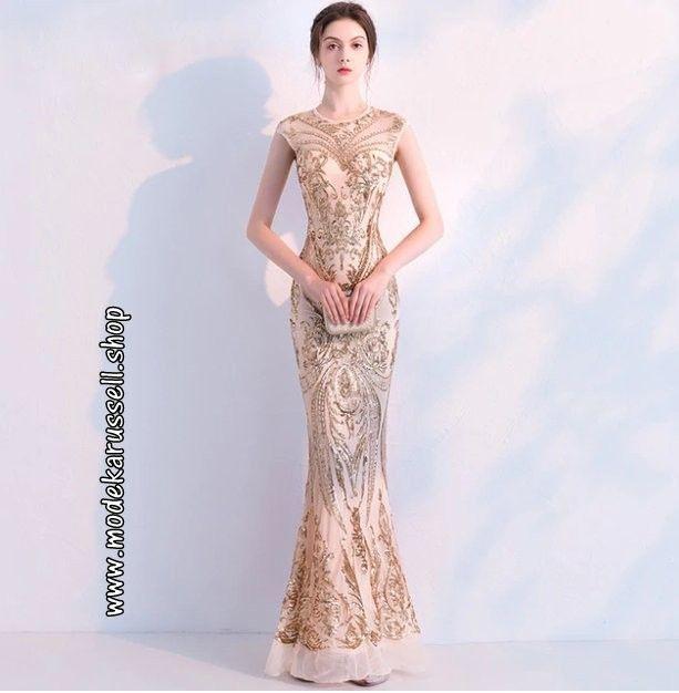 Glitzer Pailletten Abendkleid 2019 In Gold Partykleid