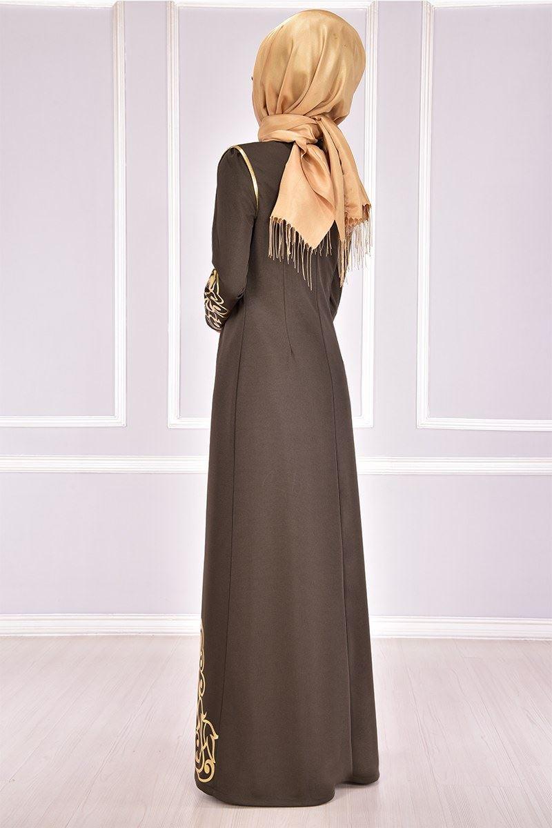 Gold Applique Weste Kleid Khaki