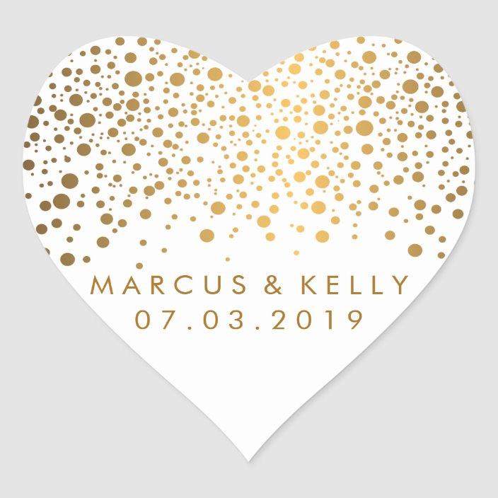 Gold Dots Confetti Hochzeit Herzaufkleber  Zazzlede