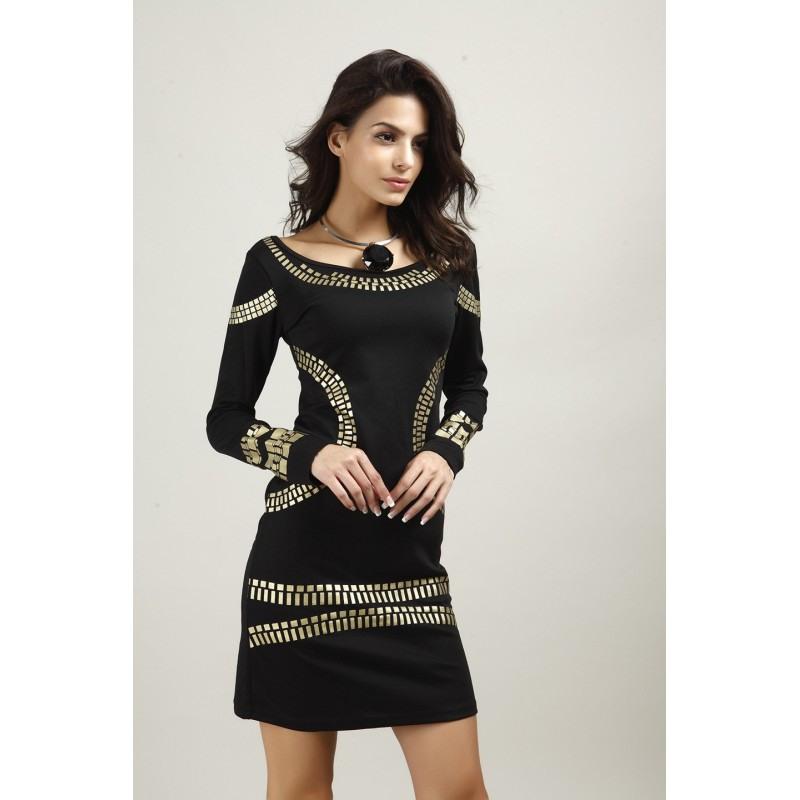 Gold Pailletten Gerade Schlankes Elegantes Kleid