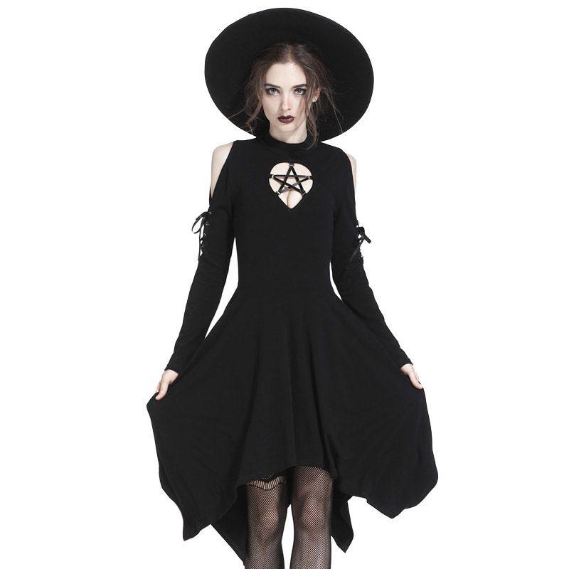 Gothic Cold Shoulder Zipfelkleid Mit Pentagramm  Gothic