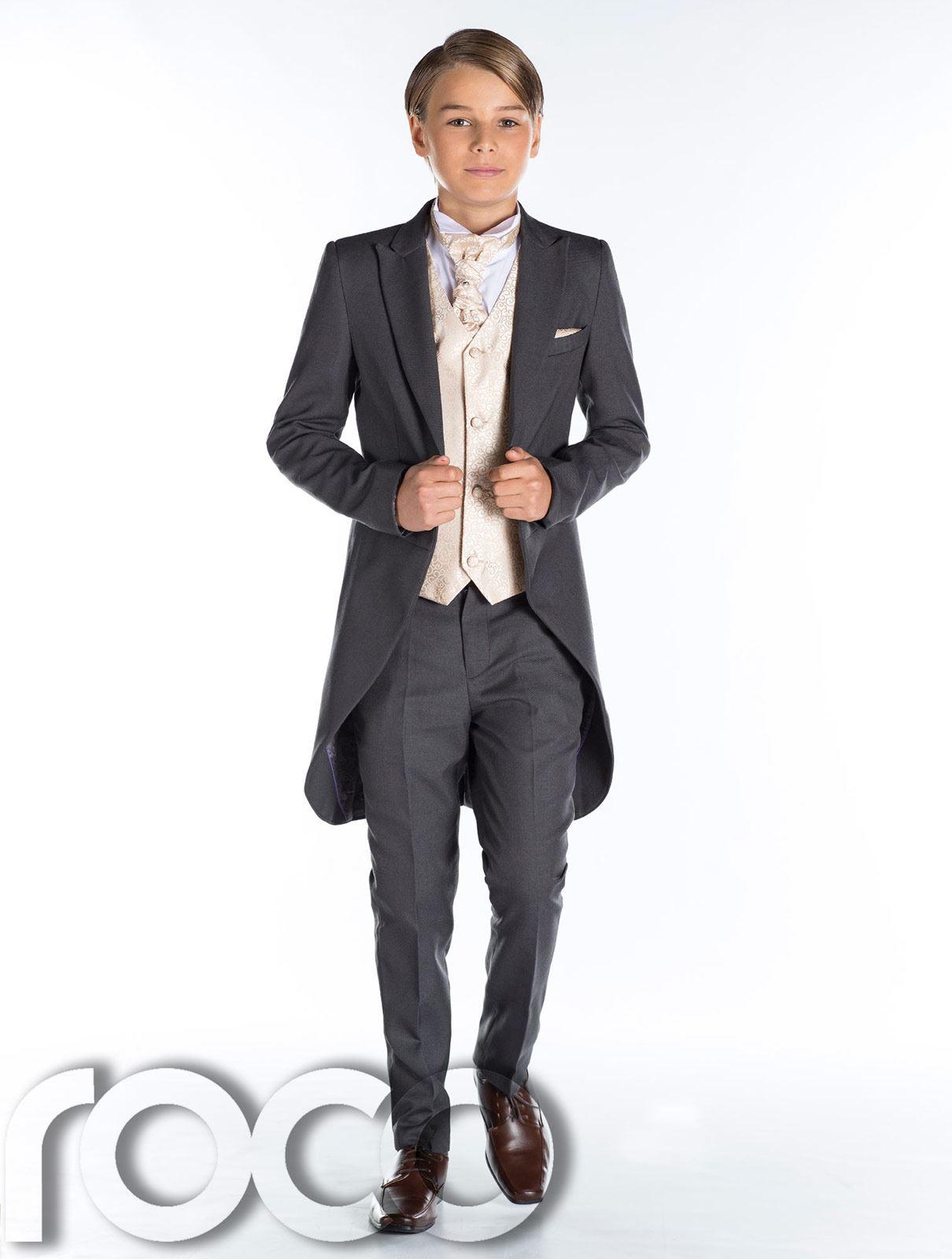 Grau Frack Anzug Jungen Hochzeit Outfits Promanzug