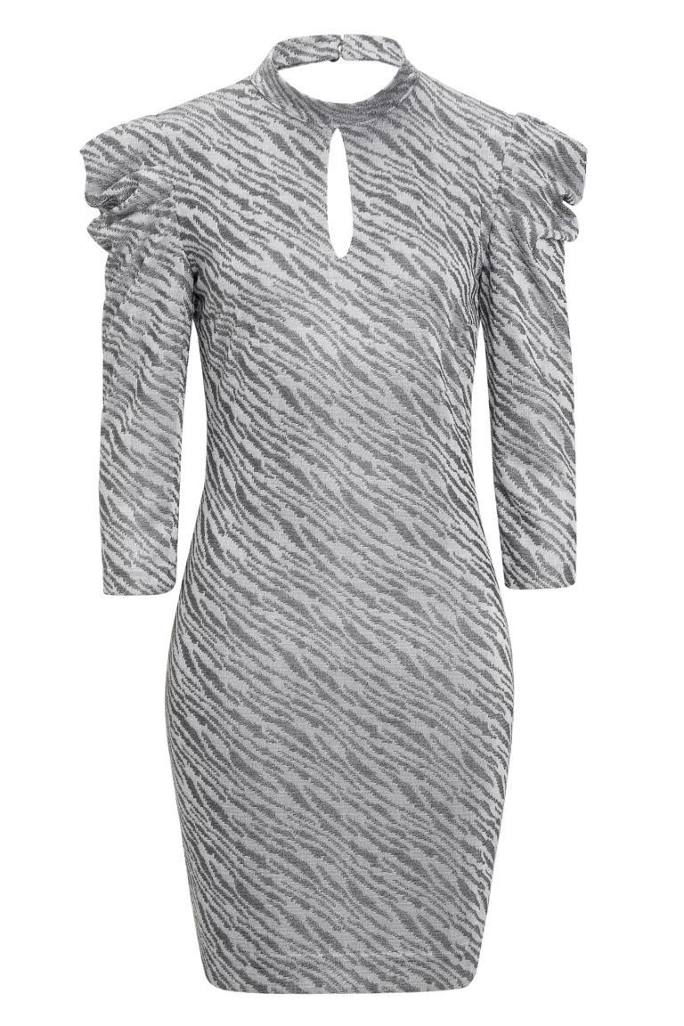 Graues Puffärmel Kleid Kimy Light Mit Cutout  Ana Alcazar