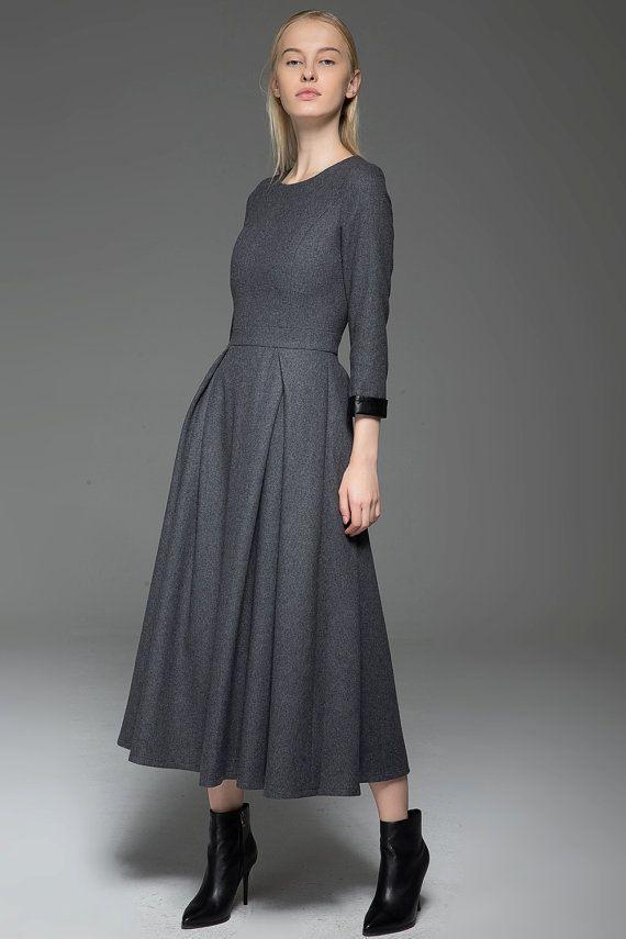 Graues Wollkleid Wollkleid Winterkleid Langärmliges