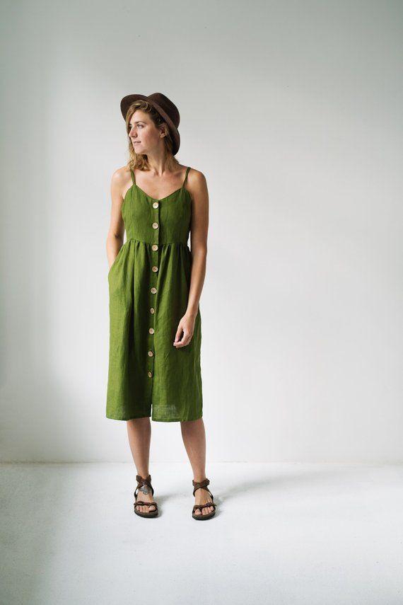 Green Dress  Linen Dress  Summer Dress  Slip Linen