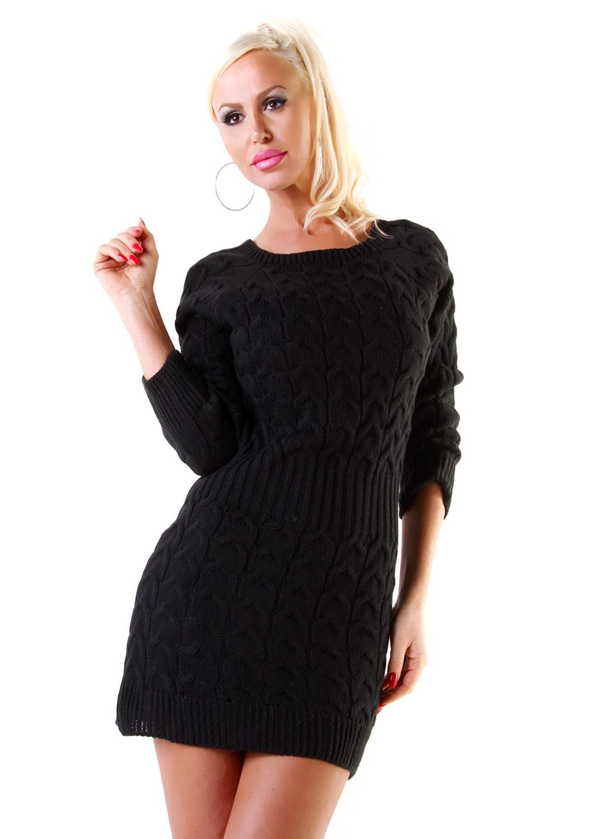 Grobstrick Kleid Langarm Zopfmuster Strickkleid Minikleid