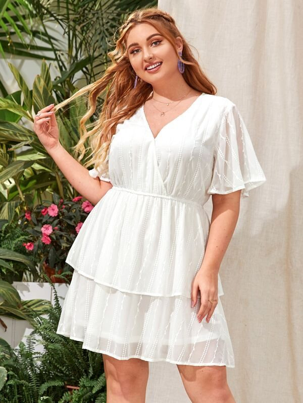 Große Größen  Kleid Mit V Kragen Flatterärmeln Und