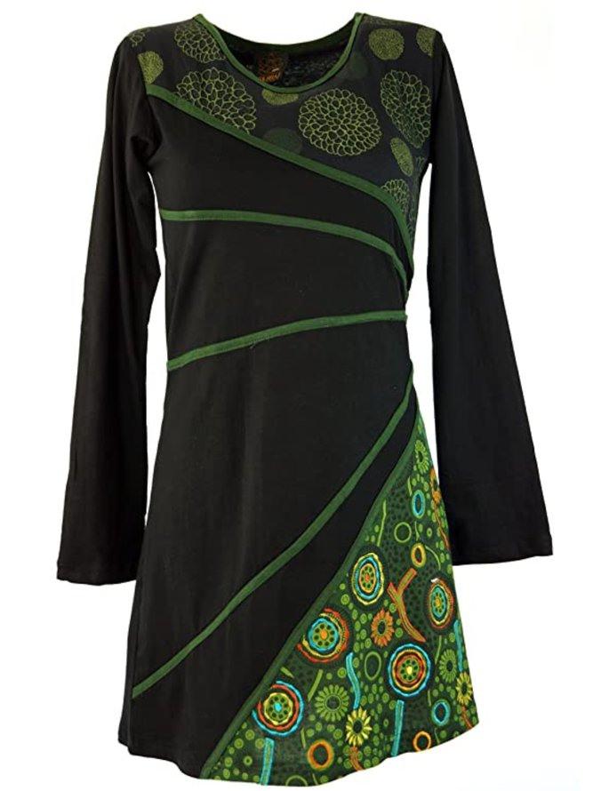 Große Größen Lässiges Kleid Mit Rundhals Langarm  Kleider