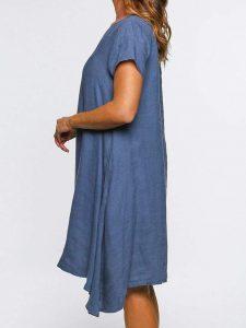 Große Größen Unifarben Minikleid Damen Sommer Kleider