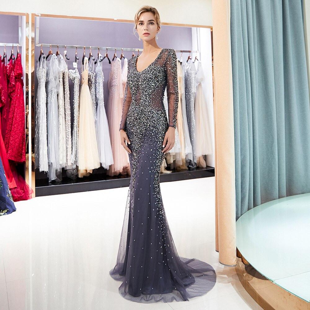 Großes Angebot 2020 Mode Langarm Abendkleider Frauen
