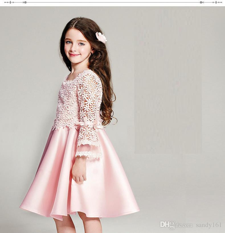 Großhandel 2016 Mädchen Spitze Kleider Elegante Rosa