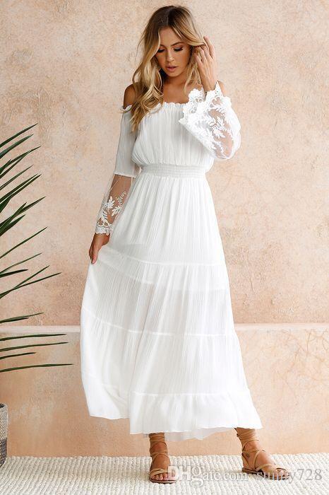 Großhandel 2018 Neue Weiße Frauen Bohemian Kleider Lange