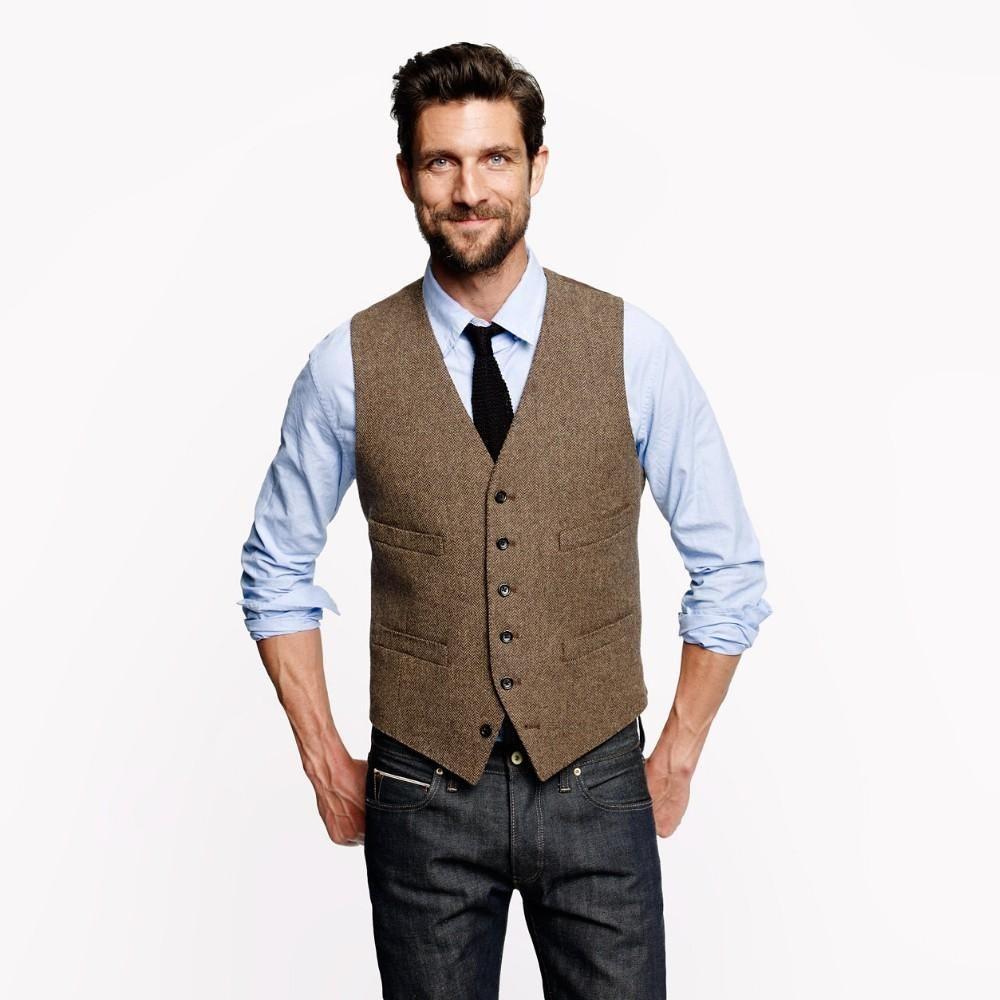 Großhandel 2019 Vintage Brown Tweed Weste Aus Wolle Mit