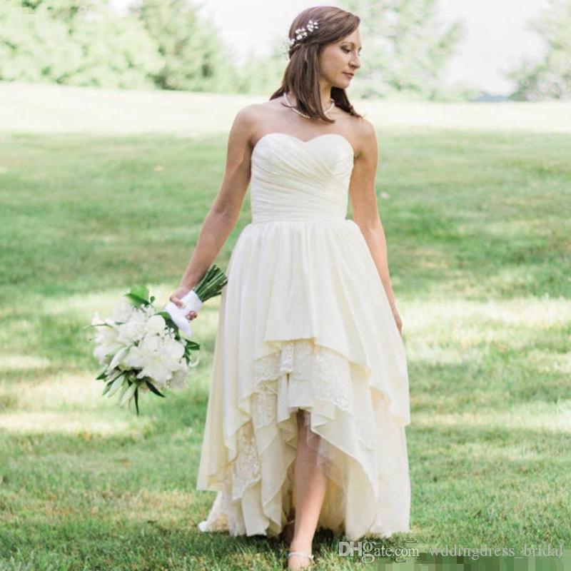 Großhandel 2019 Western Country Brautkleider High Low Lace
