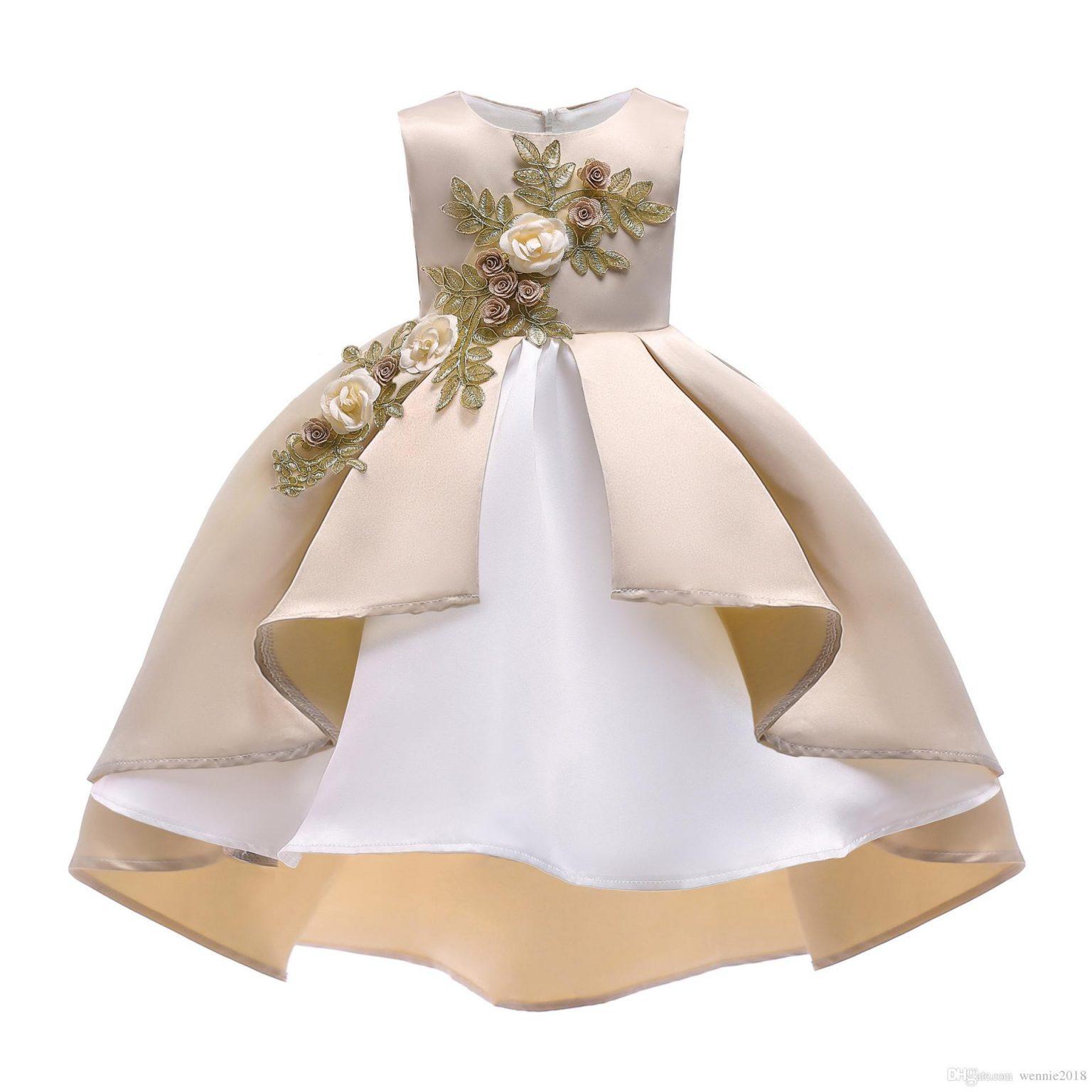 Großhandel Baby Mädchen Stickerei Seide Prinzessin Kleid