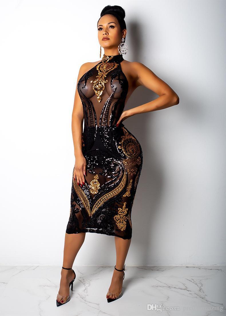 Großhandel Frauen Designer Pailletten Kleid Schwarz Abend