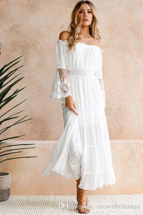 Großhandel Sommer Weiß Spitzenkleid Sommerkleid Lange