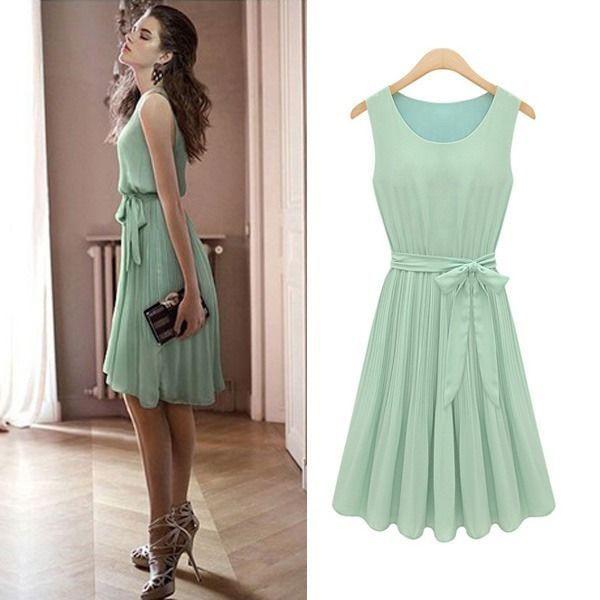 Grün Damen Chiffon Kleid Schleife Chiffonkleid Sommerkleid