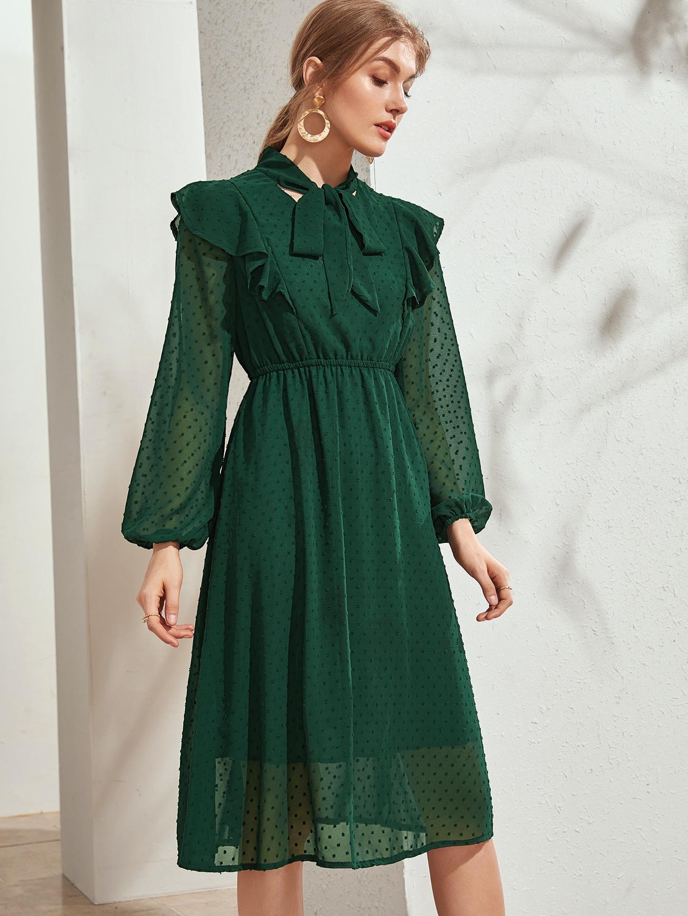 Grün Rüschen Einfarbig Elegant Kleider  Shein