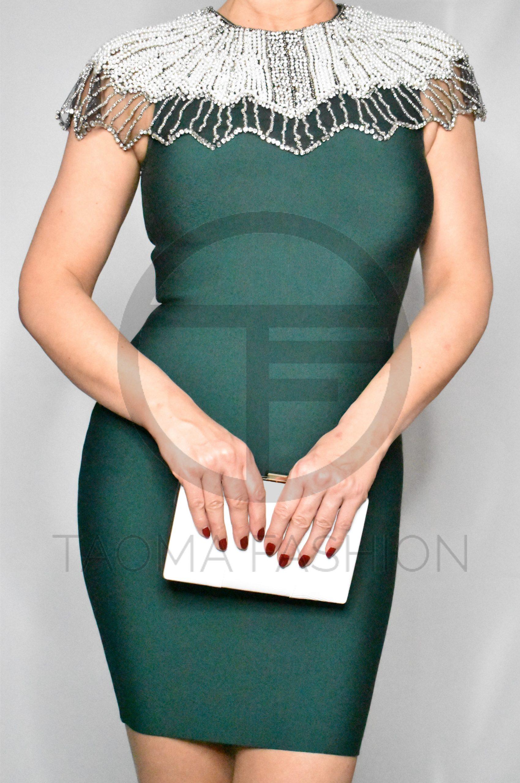 Grünes Kleid Mit Perlkragen  Taoma Fashion