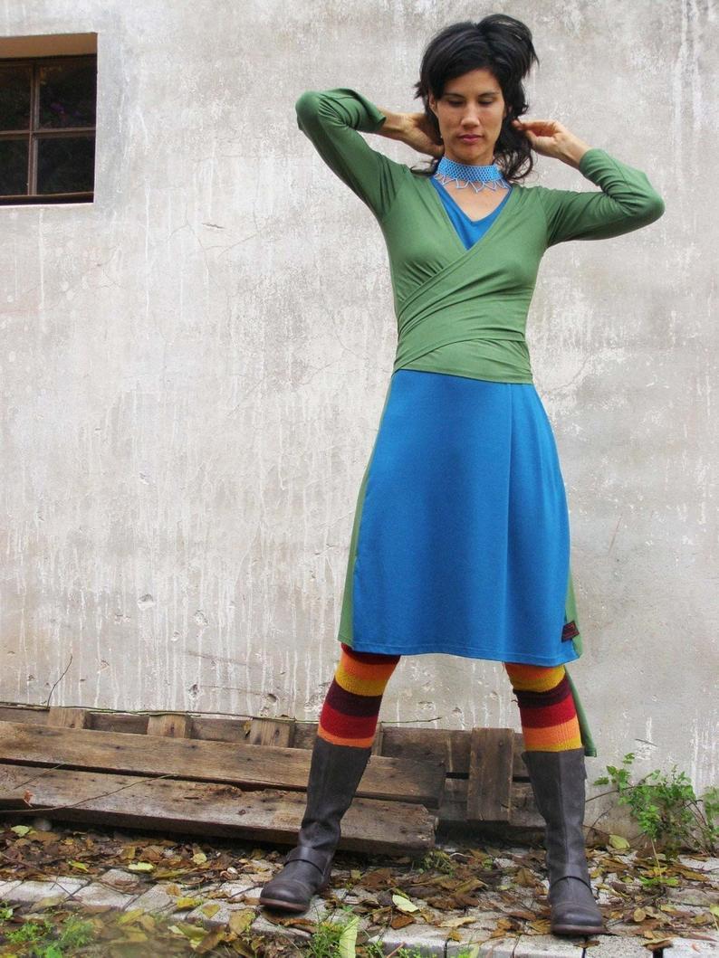 Grünes Kleid Wickelkleid Lässige Kleider Für Frauen  Etsy