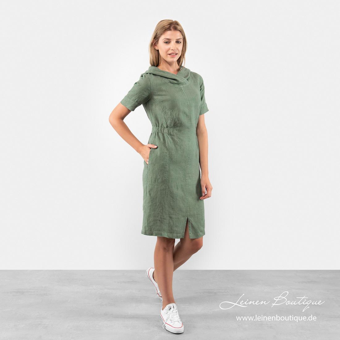 Grünes Leinenkleid Mit Kapuze Knielang  Leinen Boutique