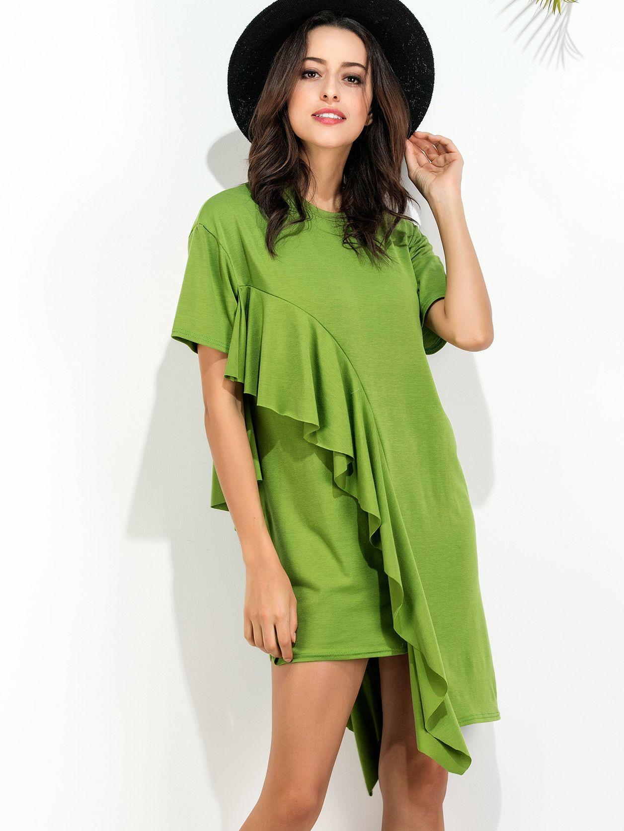 Grünes Rüschenbesatz Asymmetrisches Hemdenkleid German