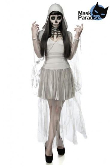 Gruselige Skeleton Ghost Kostüm Kleid Mit Kapuze Grau