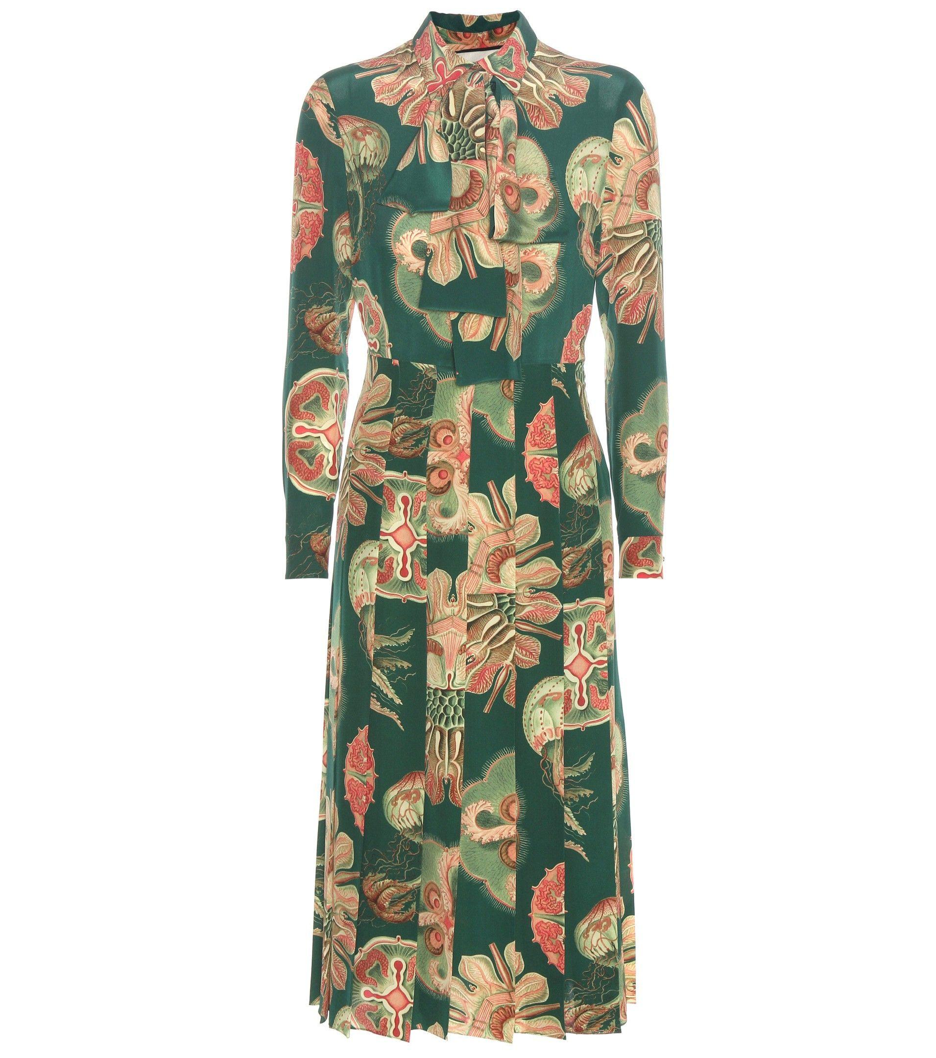Gucci  Bedrucktes Kleid Aus Seide  Mytheresa