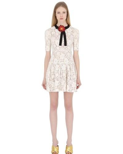Gucci  Kleid Aus Baumwollspitze Mit Blumenverzierung