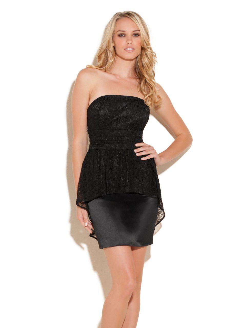 Guess Dakota Strapless Dress Jet Black 4 Mit Bildern