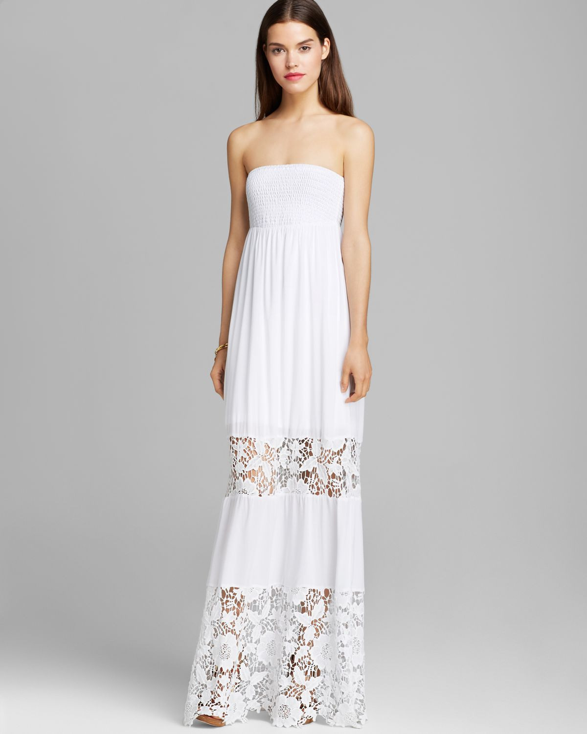Guess Embroidered Lace Maxi Dress In White  Lyst
