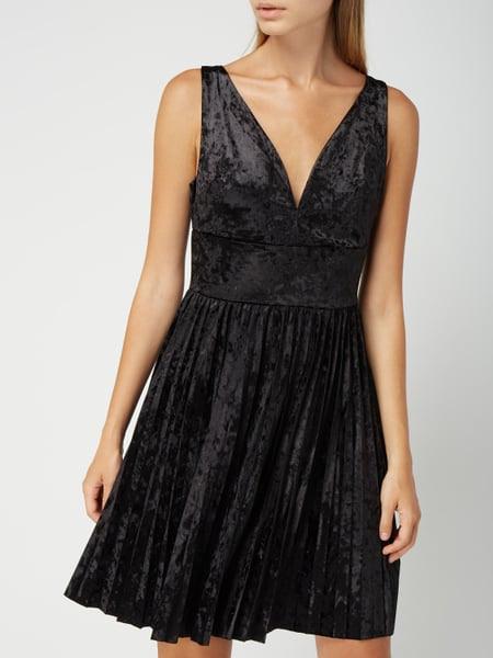Guess Kleid Aus Samt In Grau / Schwarz Online Kaufen