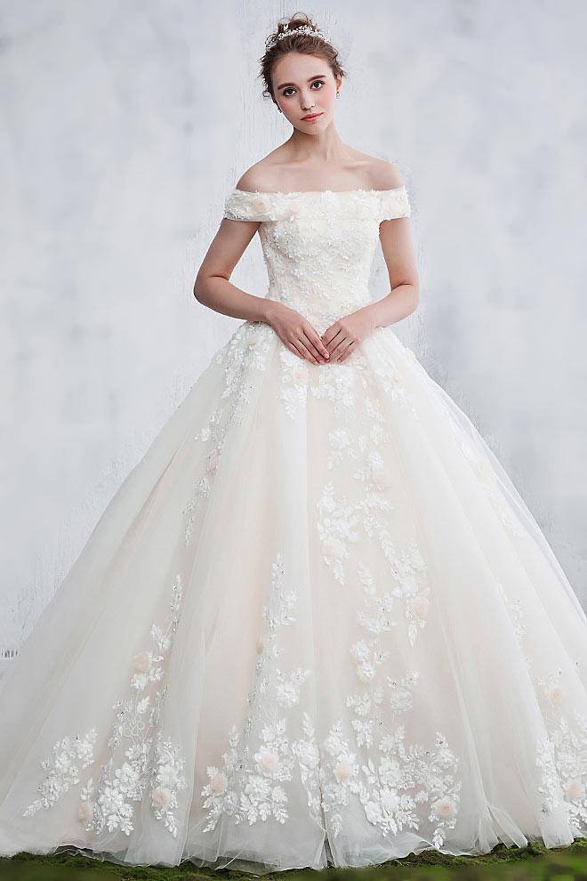 Günstig Elegantes Romantische Off Schulter Brautkleid Aus