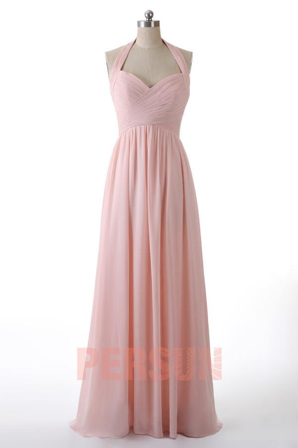 Günstig Langes Halfterkragen Rosa Chiffon Hochzeitskleid