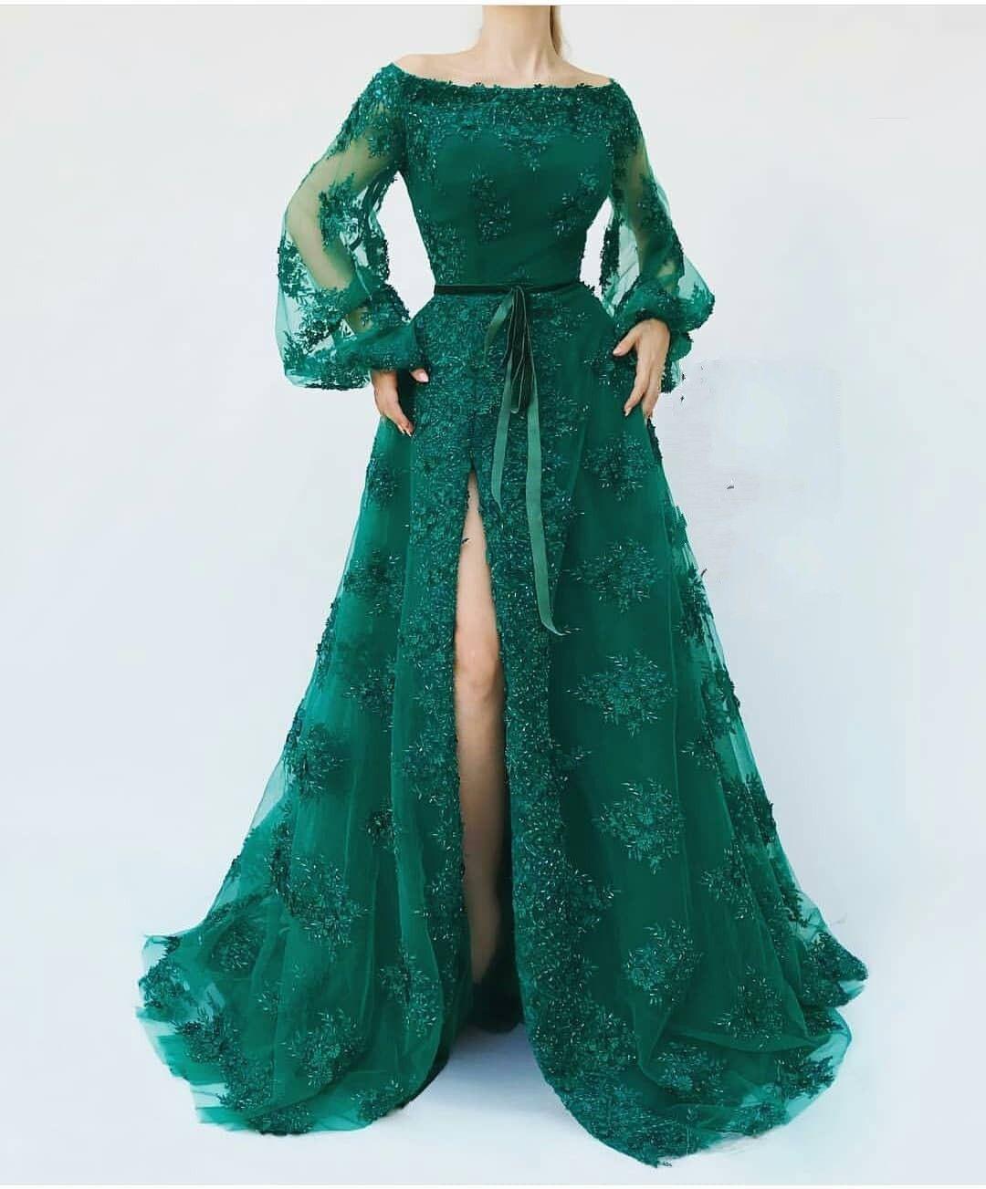 Günstige Abendkleider Lang Mit Ärmel  Abendkleid Grün