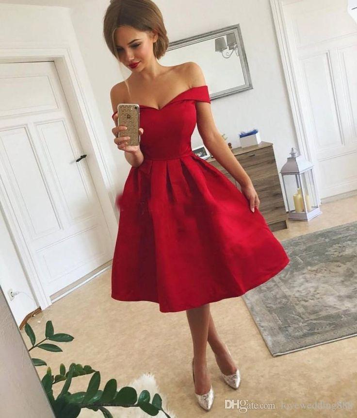 Günstige Einfache Rote Kurze Ballkleider Satin Rüschen
