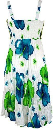 Gurushop Boho Minikleid Sommerkleid Hawaii Krinkelkleid
