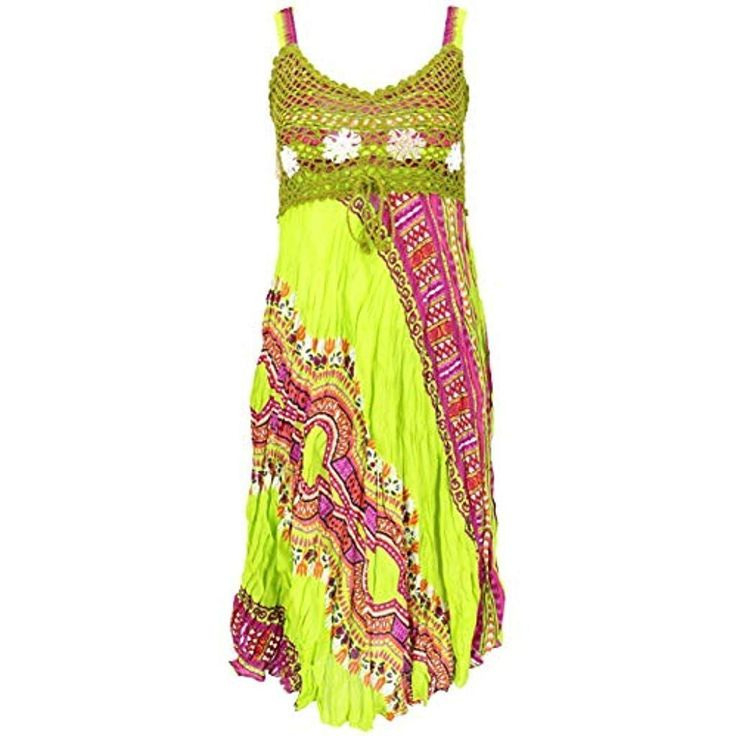 Gurushop Boho Minikleid Sommerkleid Krinkelkleid Damen