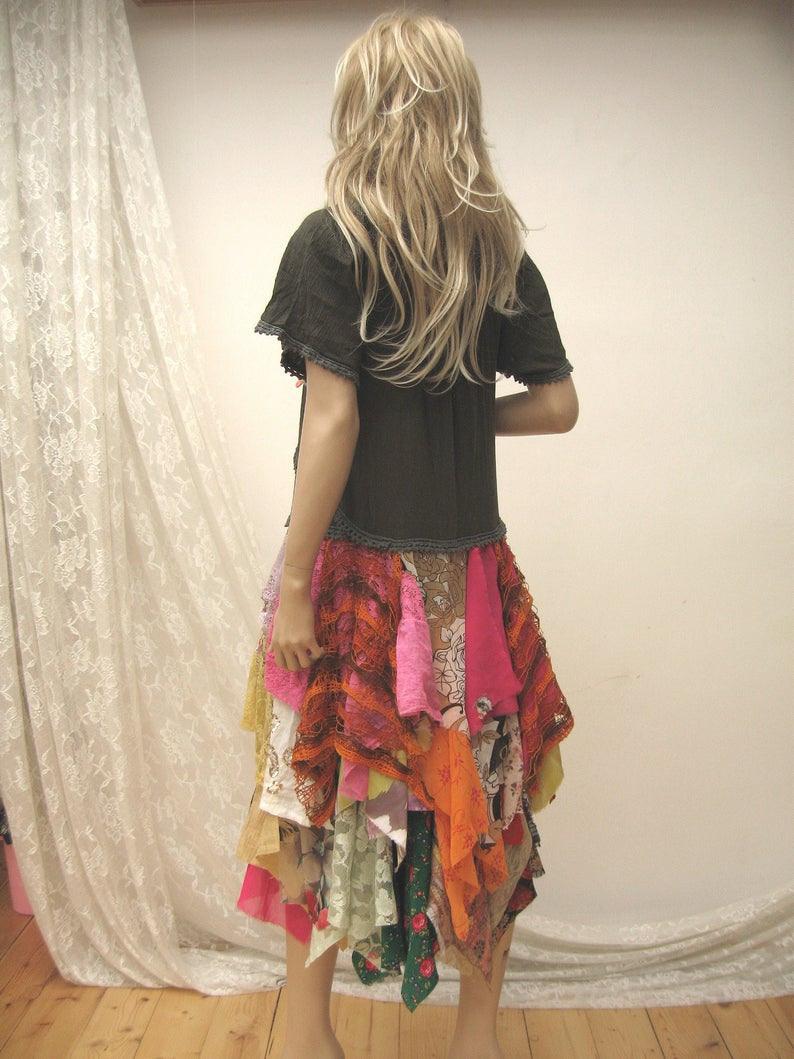 Gypsy Buntes Kleid Boho Kleid Upcycled Vintage