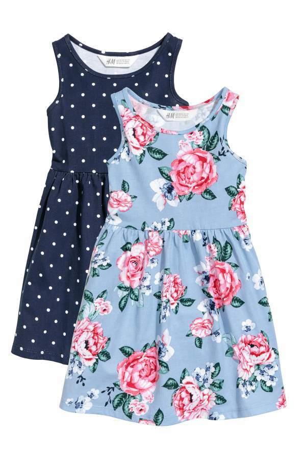 H  M  2Pack Jersey Dresses  Dark Blue/Dotted  Kids