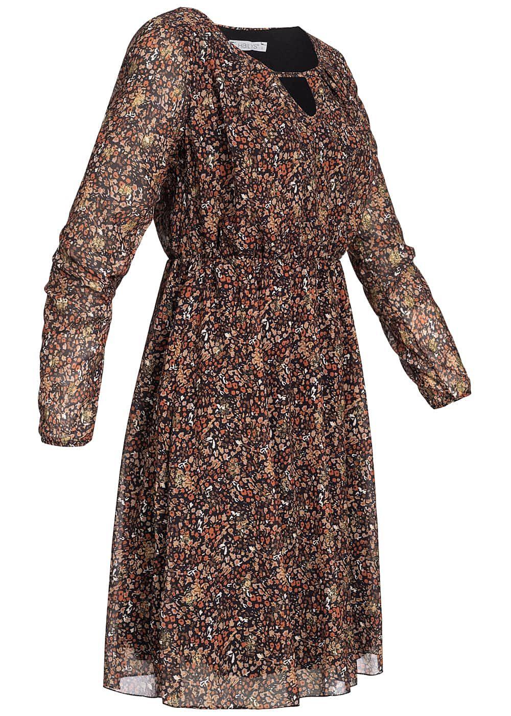 Hailys Damen Chiffon Kleid Herbst Print Glitzer Detail 2
