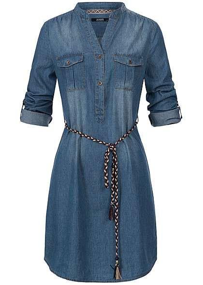 Hailys Damen Jeans Kleid Turnup Ärmel 2 Brusttaschen 2