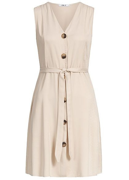 Hailys Damen Vneck Dress Bow Buttons Front Beige In 2020