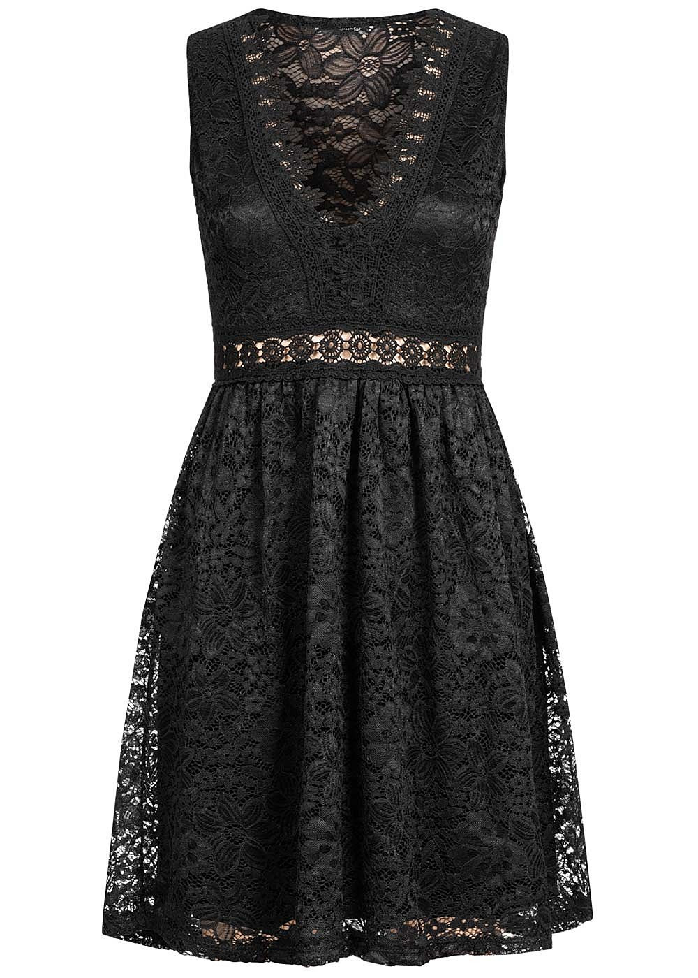 Hailys Damen Vneck Mini Spitzen Kleid 2Lagig Schwarz