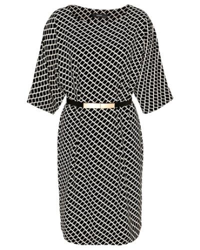 Hallhuber Damen Kimonokleid Mit Gitterprint Schwarz