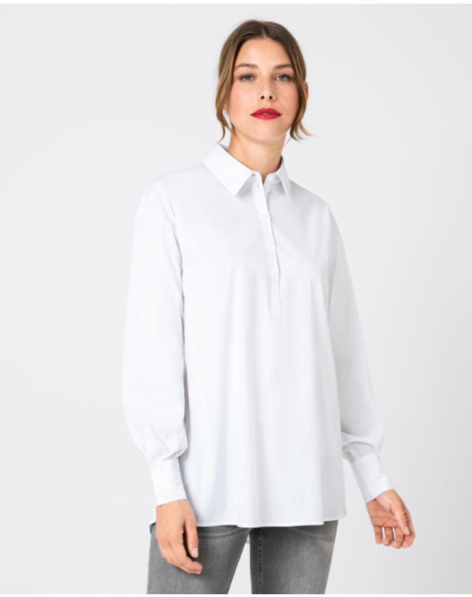 Hallhuber Lang Geschnittene Hemdbluse Für Damen In Weiß