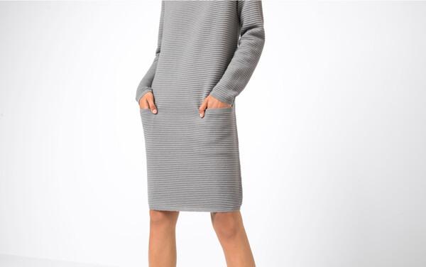Hallhuber Strickkleid In Oversize Für Damen In Silbergrau