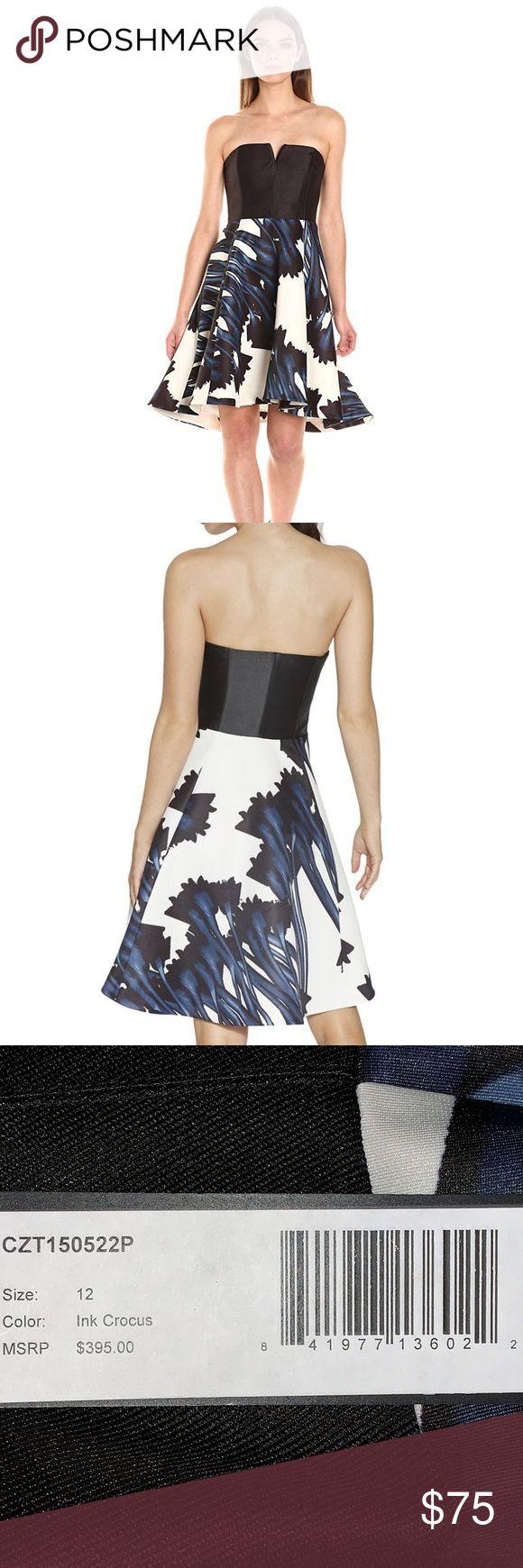 Halston  Trägerloses Bedrucktes Kleid Mit Gekerbtem