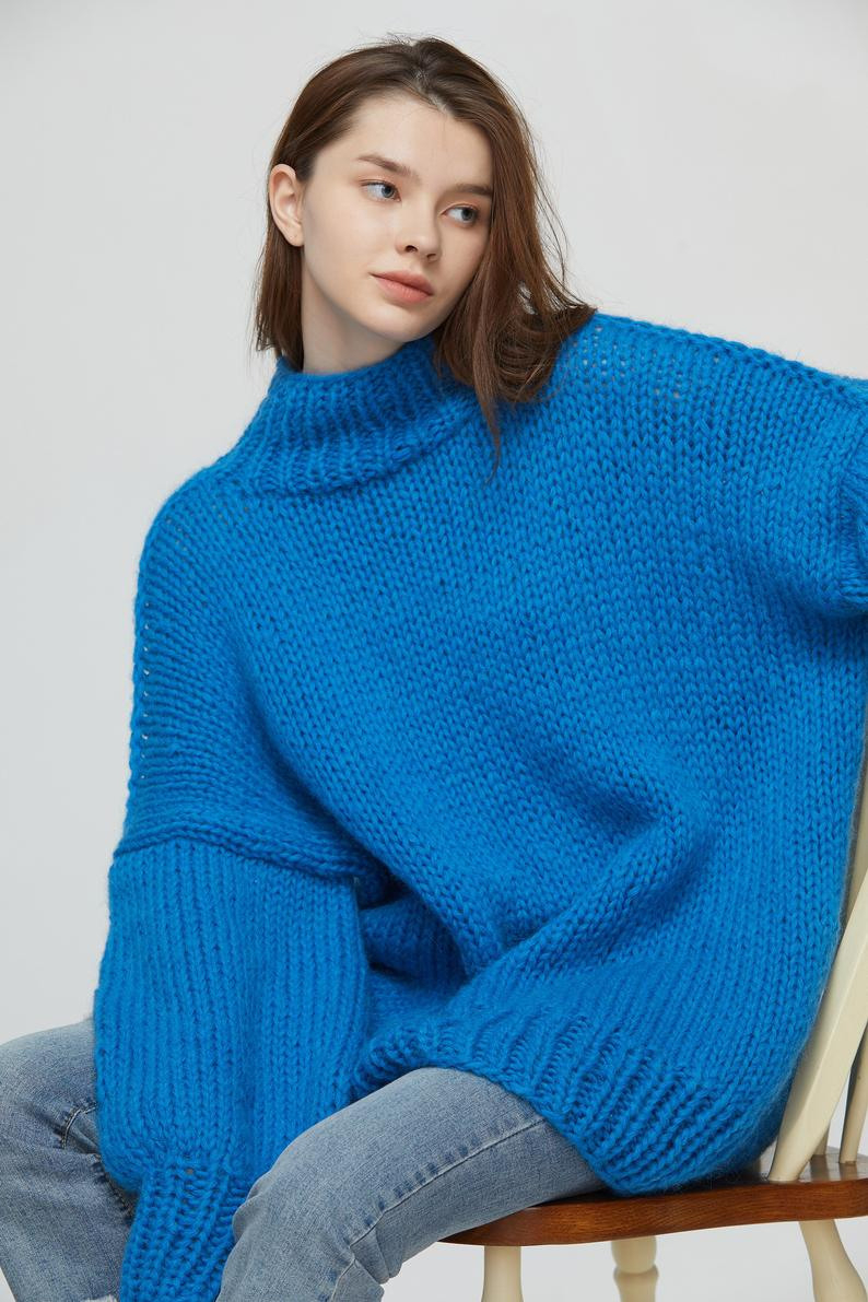Hand Stricken Frau Langen Pullover Oversized Mohair Kleid